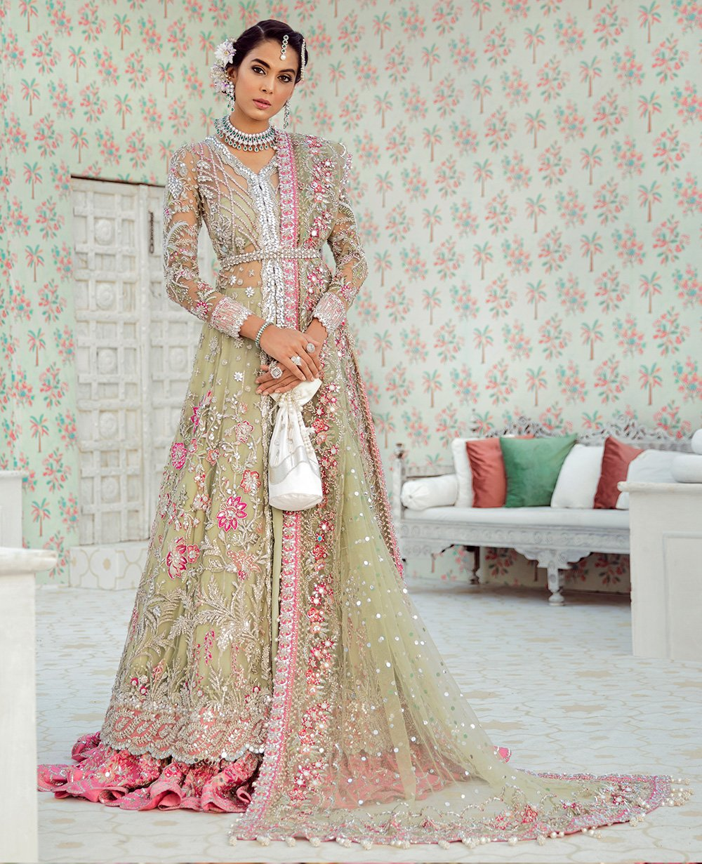 Dumore Cream and Carnation Pink Jacket Lehenga