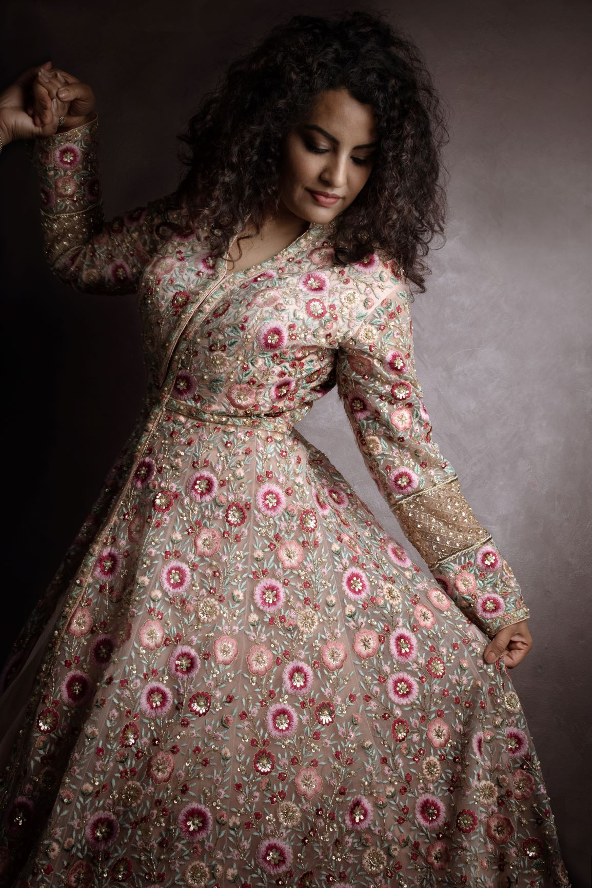 Dusty Pink Jacket Wedding Lehenga Set