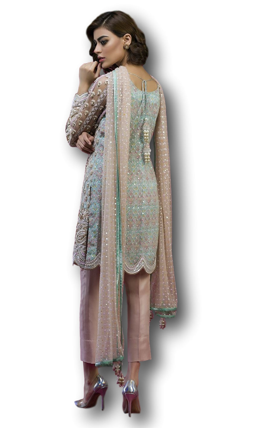Pink and Blue Color Salwar Kameez