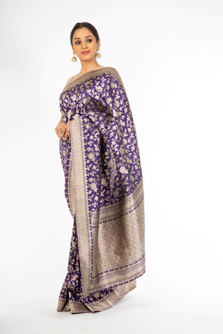 Elegant Violet Color Handloom Pure Silk Jangla Saree