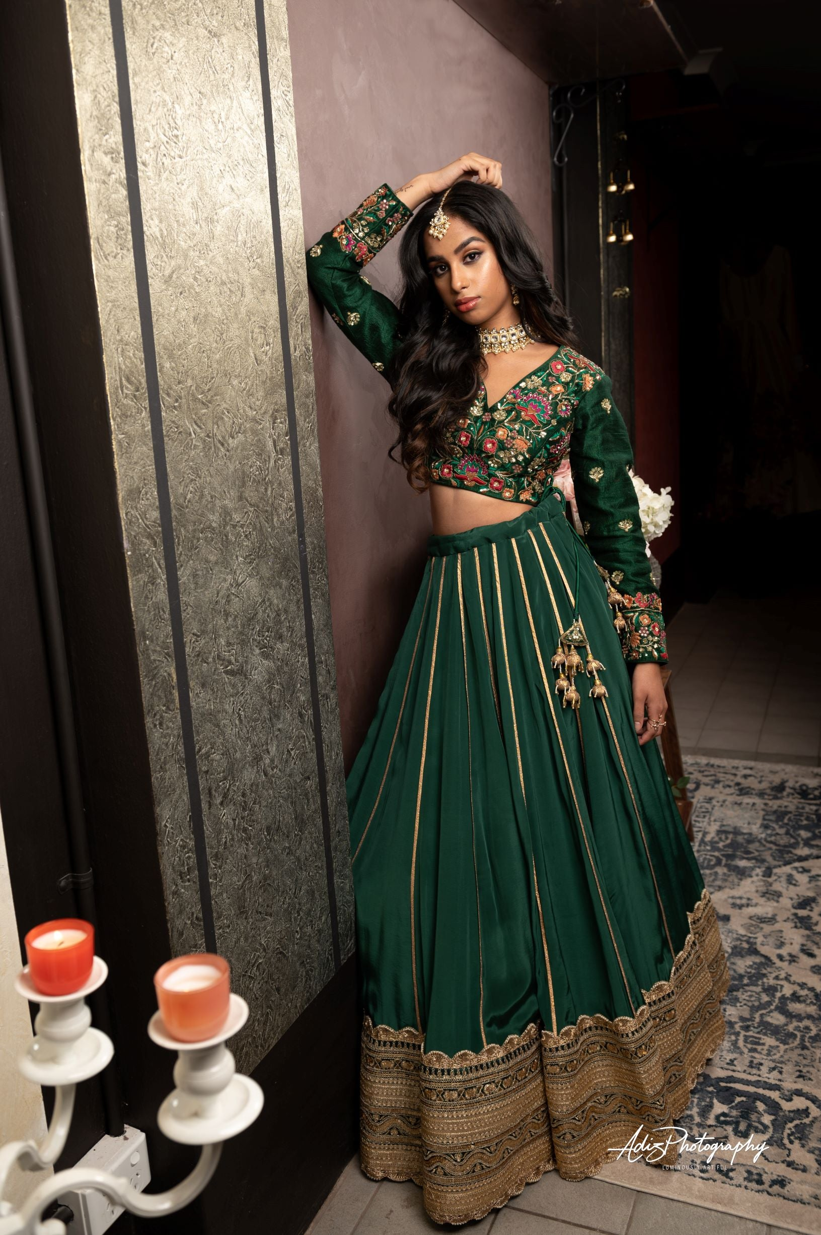 Emerald Green Lehenga Set from Gamila Collection