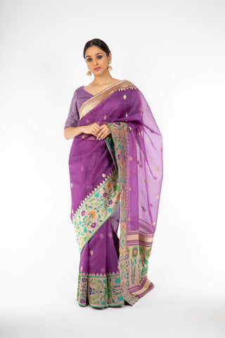 Engrossing Bright Violet Handloom Saree with Paithani Border and Pallu