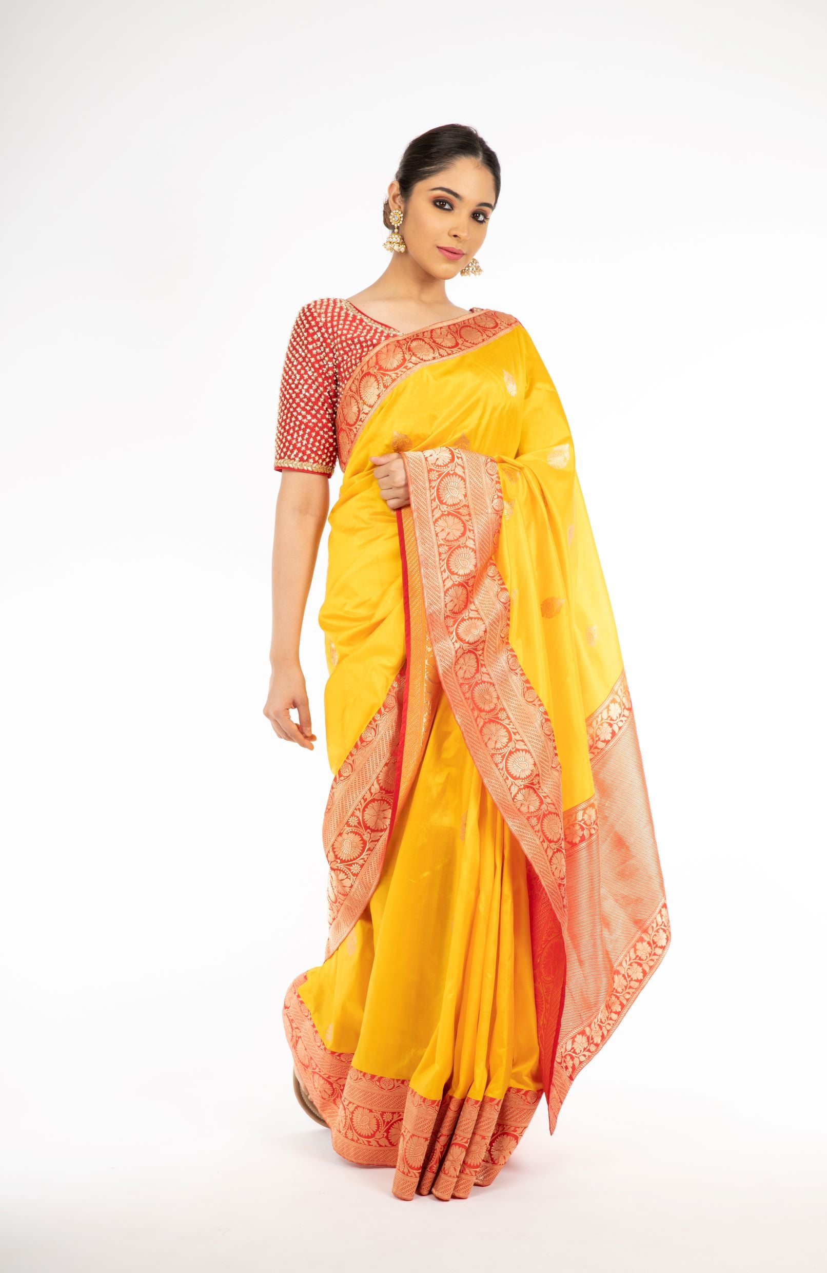 Engrossing Yellow and Red Color Handloom Banarasi Silk Saree