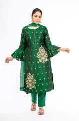 Extra-ordinary Emerald Green Pure Silk Salwar Kameez