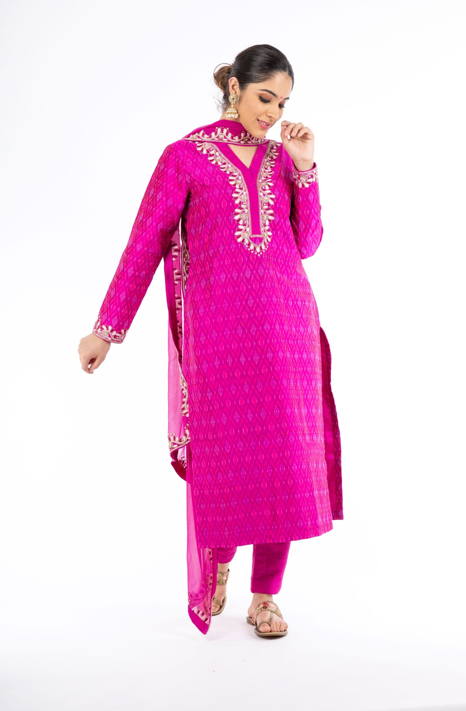 Extra-ordinary Magenta Color Handloom Ikkat and Raw Silk Salwar Kameez