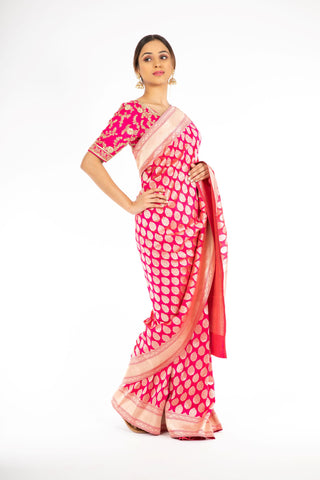 Extra-ordinary Pink Color Banarasi Handloom Saree from Panache Haute Couture