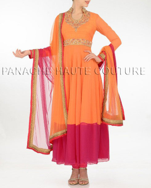 Unique orange & rose color net suit with zari work