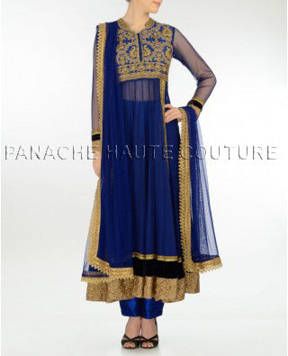 Charming blue net anarkali suit with trousers