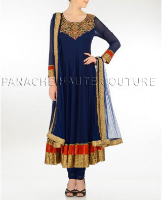 Stunning blue net suit with zardosi work