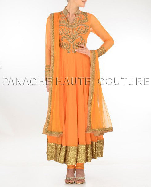 Charming orange long anarkali suit