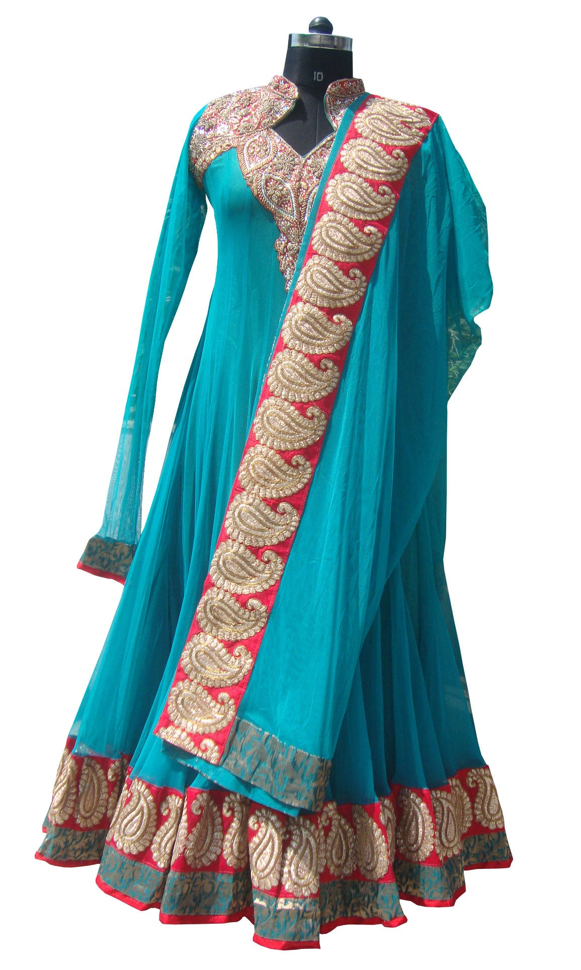 Aqua blue color Floor length anarkali suit online