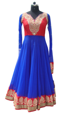 Royal blue floor length anarkali salwar kameez