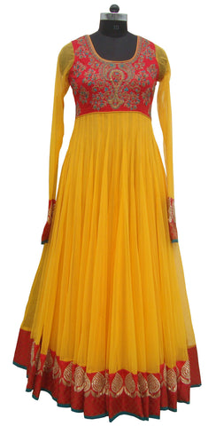 Yellow color long anarkali suit