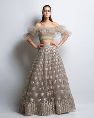 Fawn Color Gotta Patti Applique Lehenga