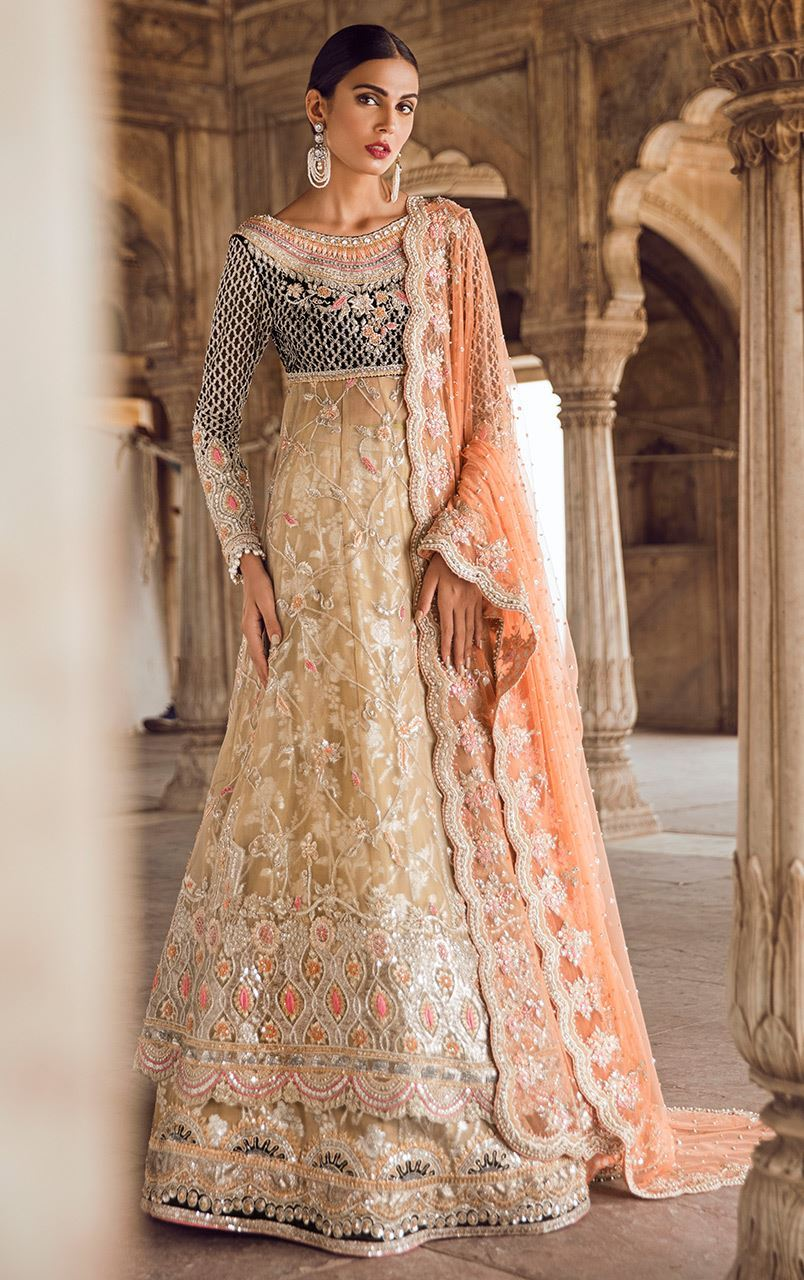 Fawn Colour Wedding Walima Dress