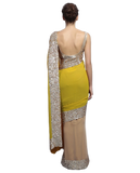 Fawn and yellow color party wear saree at Panache Haute Couture