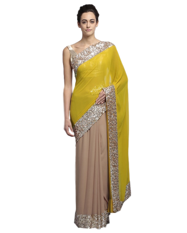 Fawn and yellow color party wear saree