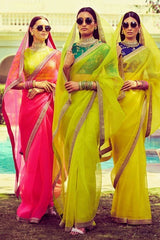 Fluorescent Colors Organza Silk Sarees