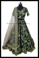 Forest Green Color Bridal Lehenga Choli