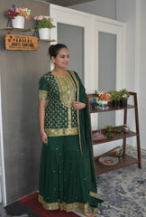 Stunning Party Wear Forest Green color Sharara Set