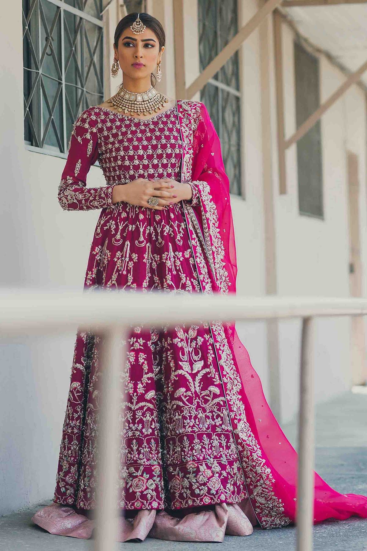 Fuchsia Pink Color Wedding Jacket Lehenga