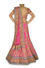 Fuchsia Pink color Bridal lehenga choli