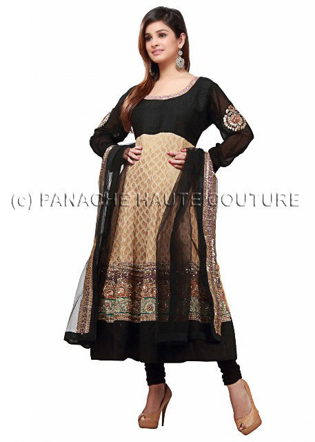 Smashing black & beige georgette suit