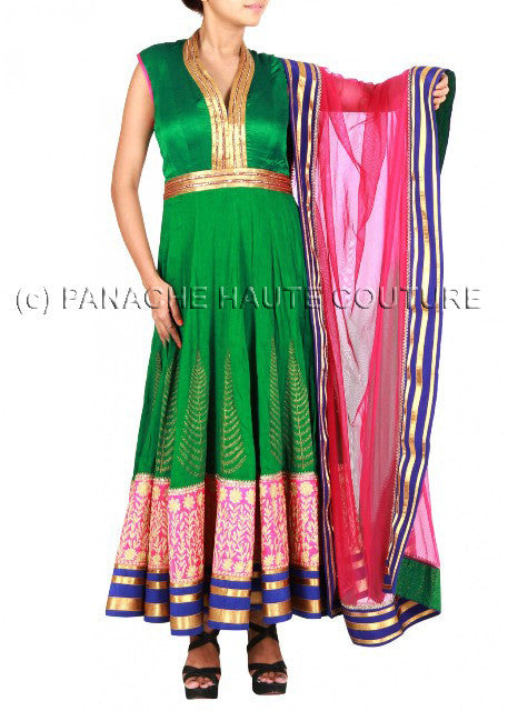 Green color silk suit giving marvelous look