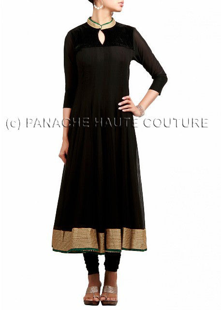 Black georgette suit giving pretty look