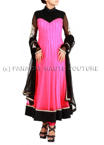 Elegant pink and black anarkali suit