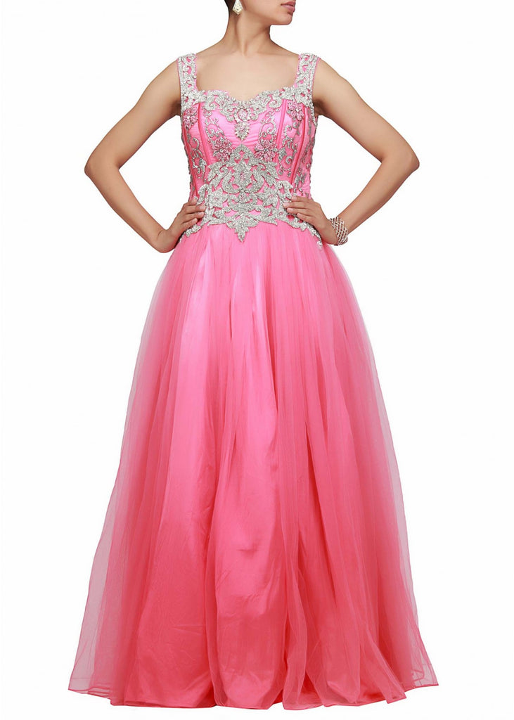Pink color designer gown