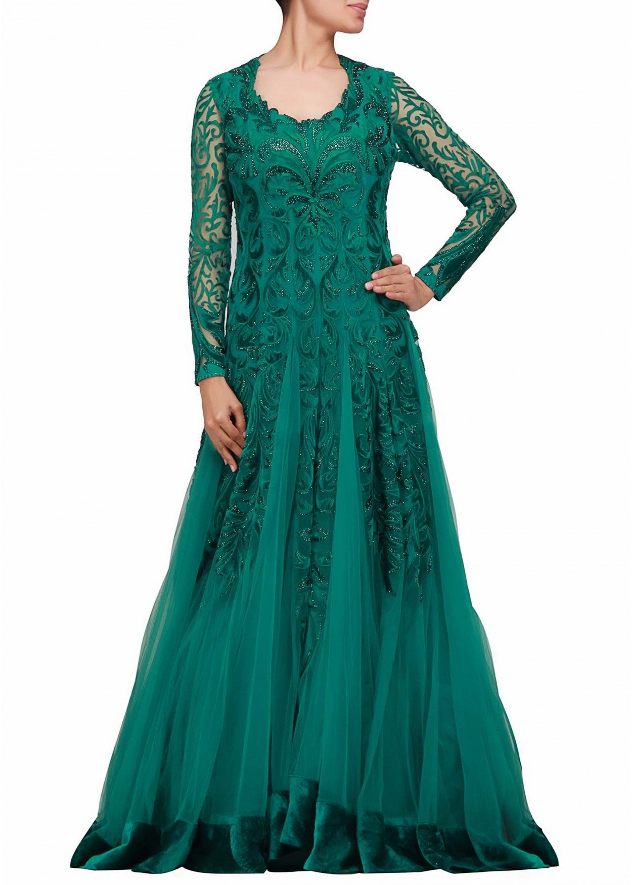 Anarkali suit type green gown online – Panache Haute Couture