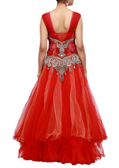 Red color bridal gown