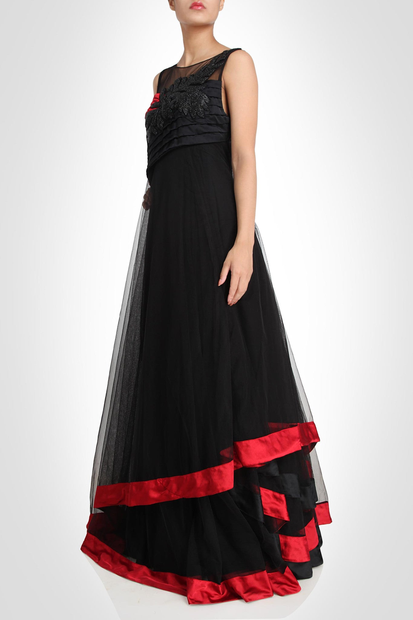 Black color designer gown