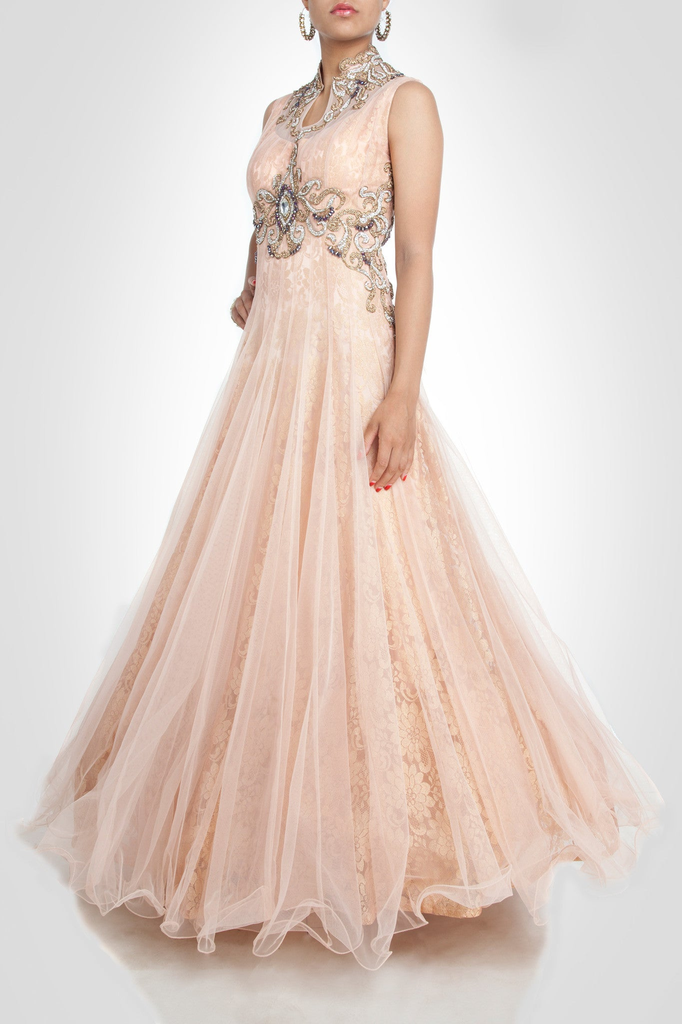 Peach color high-neck gown