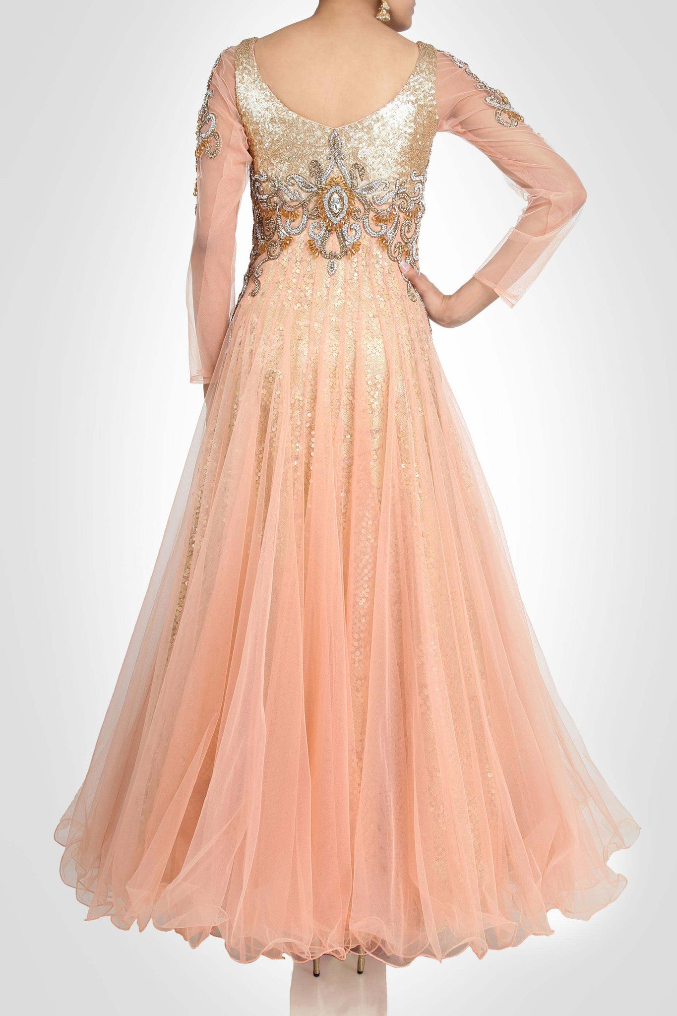 Peach color sequin gown