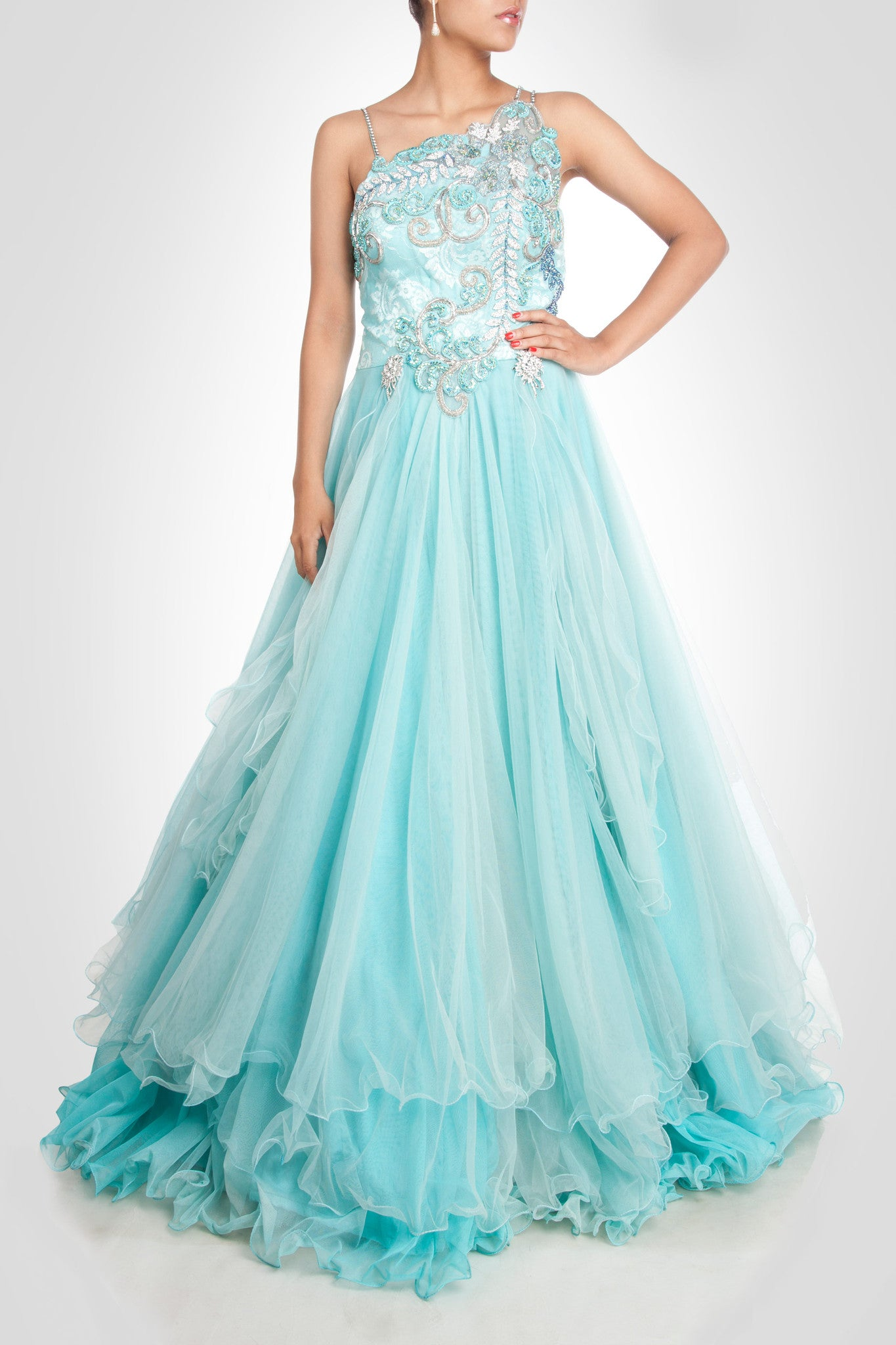 Sky blue gown in net – Panache Haute Couture