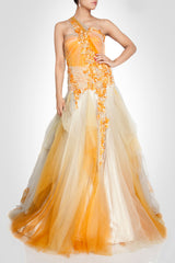 Net gown in White and Mustard color