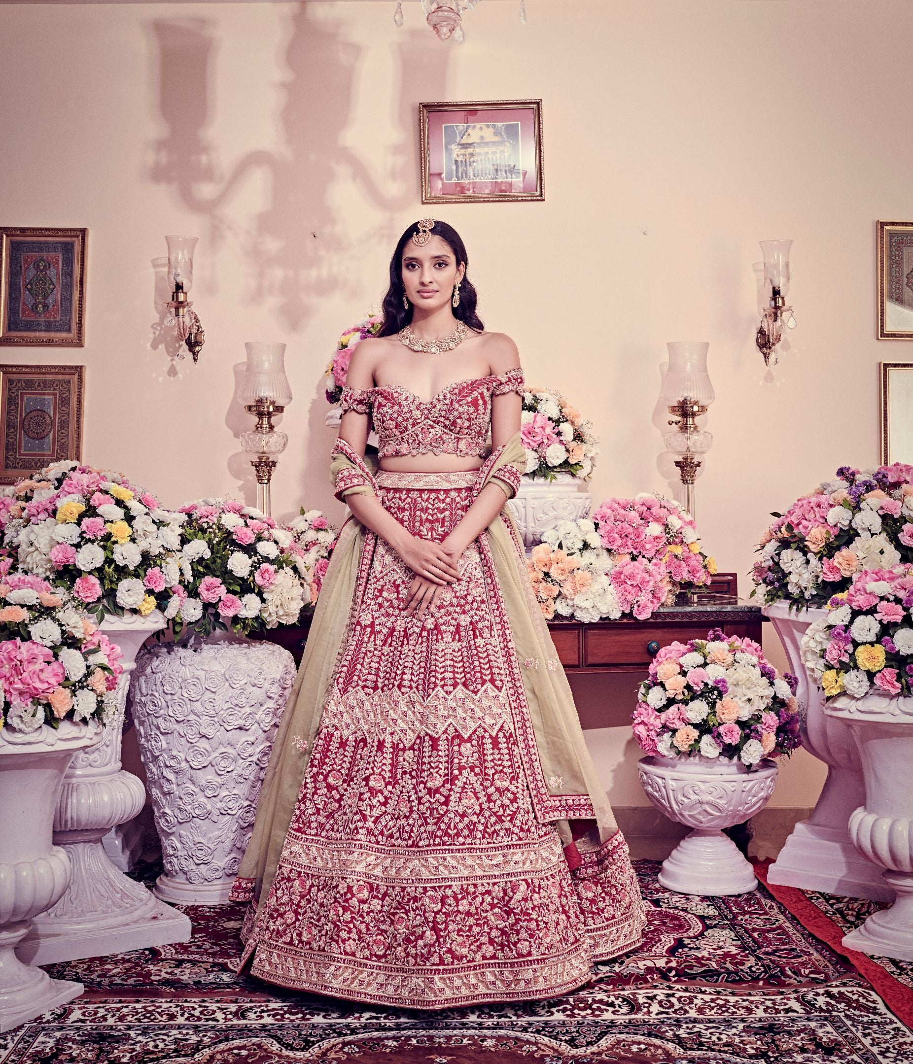Garnet Red Color Bridal Lehenga