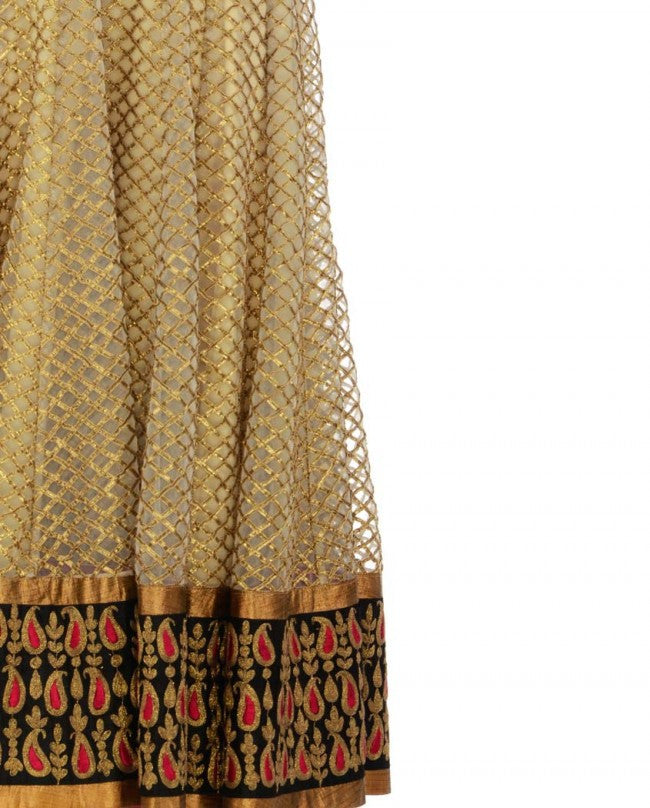 Golden and Pink color long anarkali suit