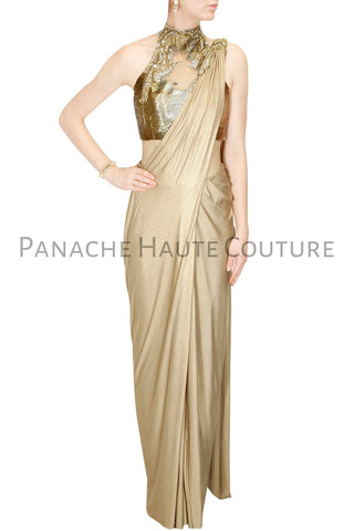 Golden Color designer Saree Gown With Hand Embroidered Blouse