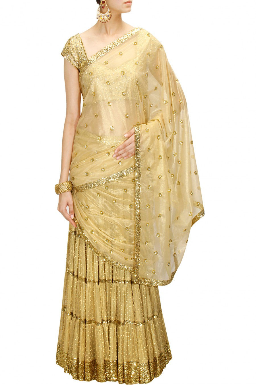 Golden Lehenga Saree at  Panache  Haute Couture