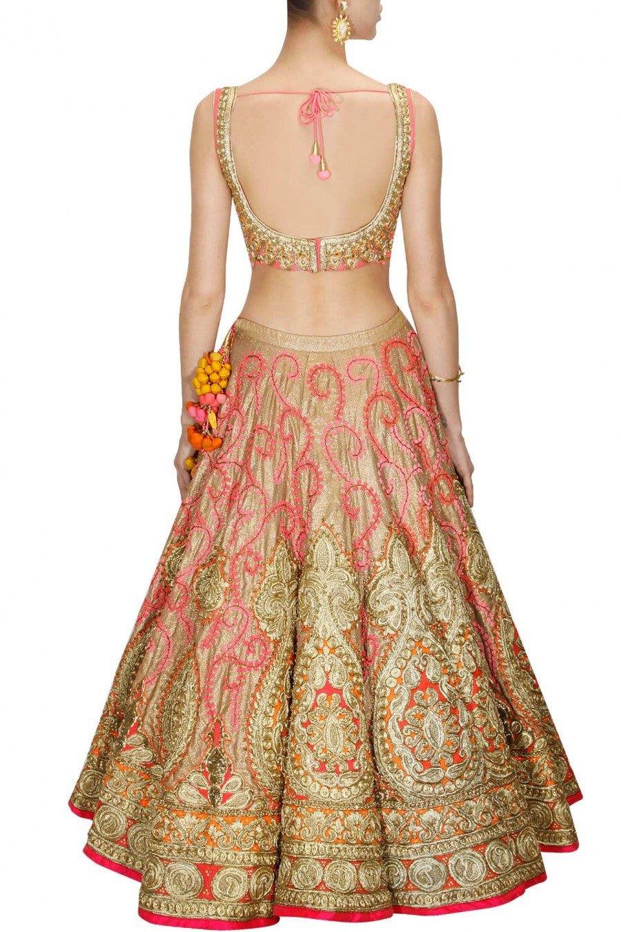 Golden and Pink Bridal Lehenga Choli