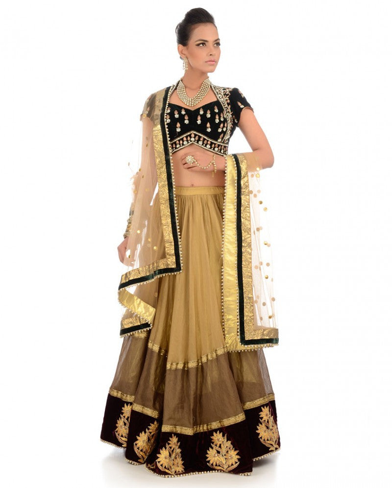 Golden and black color lehenga choli