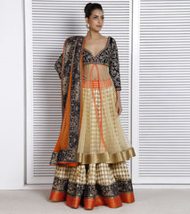 Golden and blue color lehenga