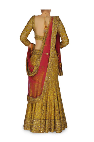 Golden color Bridal lehenga / chaniya choli
