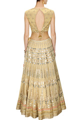 Golden color Bridal Lehenga Choli