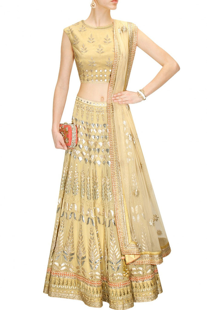 Golden Gotta Patti Bridal Lehenga Choli