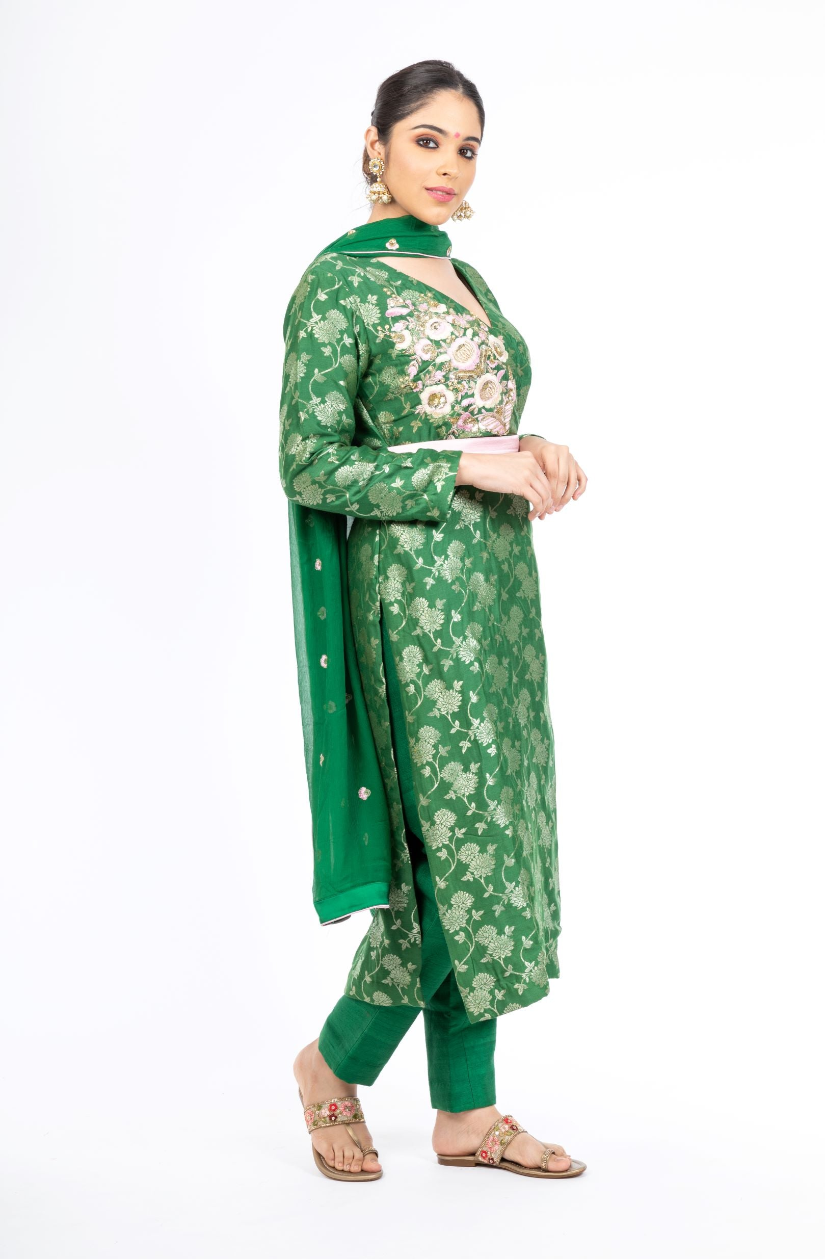 Gorgeous Putting Green Palm Silk Salwar Kameez