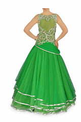 Green colour Indo Western Gown